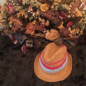 🦊 Gymboree straw hat. Size Large. Tan, pink, blue